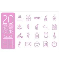 thin line happy birthday icons set concept vector image