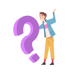 tiny man character holding huge question sign vector image