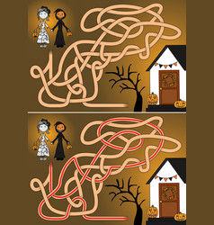 trick or treat maze vector image