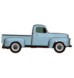 Vintage blue pickup polygonal pickup side view vector