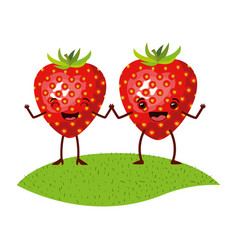 White background with realistic pair of strawberry vector