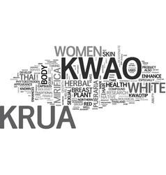 White kwao krua native herbal plant for women vector