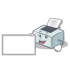 With board printer character cartoon style vector