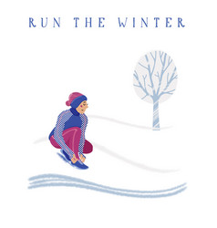 Woman in warm running clothes tying shoelaces vector