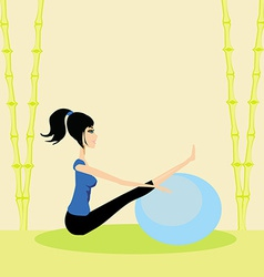 Woman with fitness ball - pilates vector image