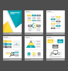 Blue yellow presentation template Infographics set vector image vector image