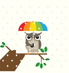 Cute owl with umbrella vector image