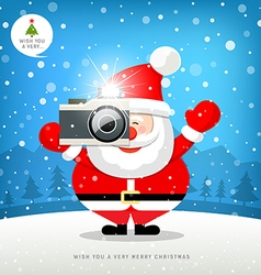 Merry christmas Santa claus hand holding camera vector image vector image