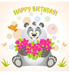 panda happy birthday vector image vector image