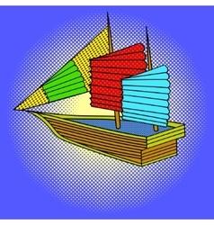 Sailing ship pop art vector image