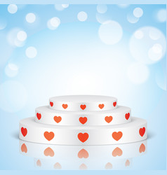 white romantic scene with red hearts vector image vector image