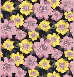 yellow and rosy stylized floral seamless pattern vector image