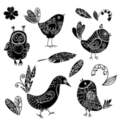 Black silhouettes bird and flower doodle set vector image
