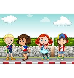 Children standing along the sidewalk vector image