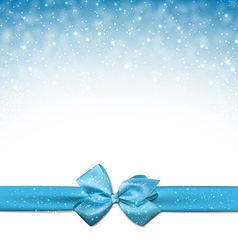 Christmas blue background with gift bow vector image vector image