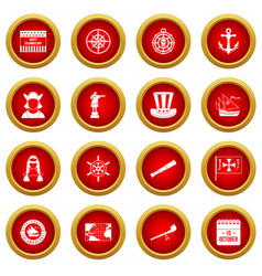 Columbus day icon red circle set vector