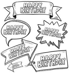 doodle label tag banner happy birthday vector image vector image