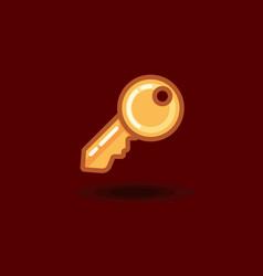 icon key isolated flat key vector image vector image