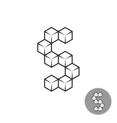 letter s logo consists of 3d sugar cubes vector image