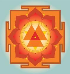 Sacred Geometry orange Durga yantra vector image vector image