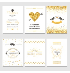 Set of Love Cards - Wedding Valentines Day vector image vector image