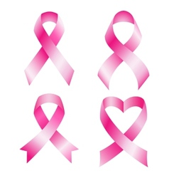 Set of pink breast cancer ribbons vector image