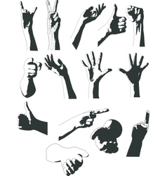 Silhouettes of hands vector image