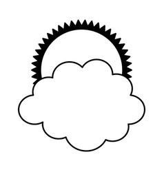 Sun with cloud isolated icon vector