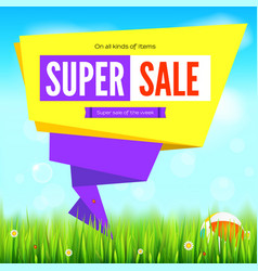 super sale summer background cut paper art style vector image
