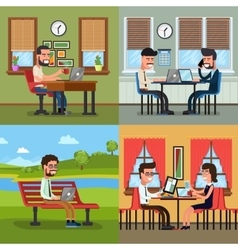Business people working in various workplace vector image