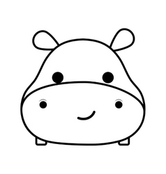 cute hippopotamus isolated icon vector image vector image
