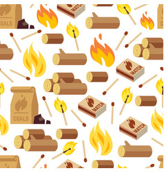 fire and wooden seamless pattern vector image vector image