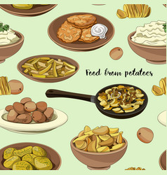 food from potatoes pattern vector image vector image
