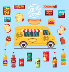 food truck with big set summer meal fast food vector image vector image