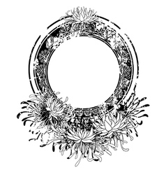 frame with chrysanthemum vector image vector image