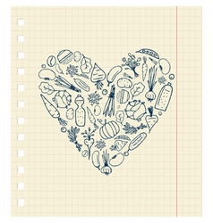 Healthy life - heart shape with vegetables vector image