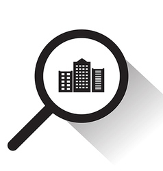 magnifying glass with City icon vector image