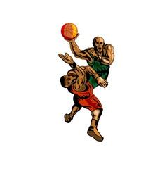 Basketball Player Dunking Blocking vector image vector image