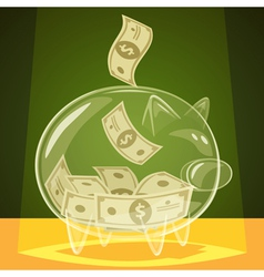Glass piggy bank vector image vector image