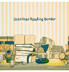 Seamless books reading border vector image vector image