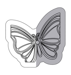 sticker silhouette with a butterfly vector image