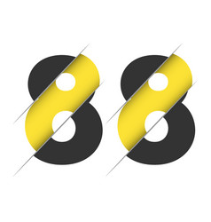88 8 number logo design with a creative cut vector