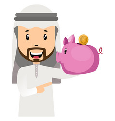 arab with piggy bank on white background vector image