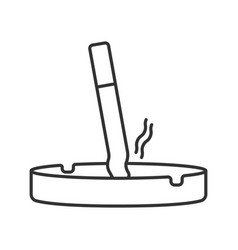 Ashtray with stubbed out cigarette linear icon vector