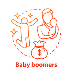 Baby boomers red concept icon generation idea vector