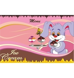 Background - cartoon menu cafe for ice cream vector