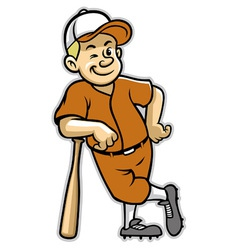 Baseball player stand with a baseball bat vector