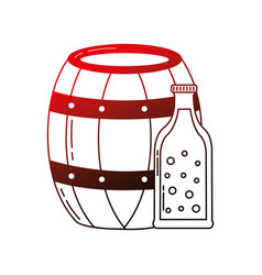 beer barrel and bottle drink beverage vector image