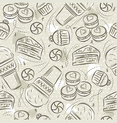 Beige seamless patterns with cupcake ice cream vector
