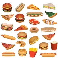 Big fast food set vector